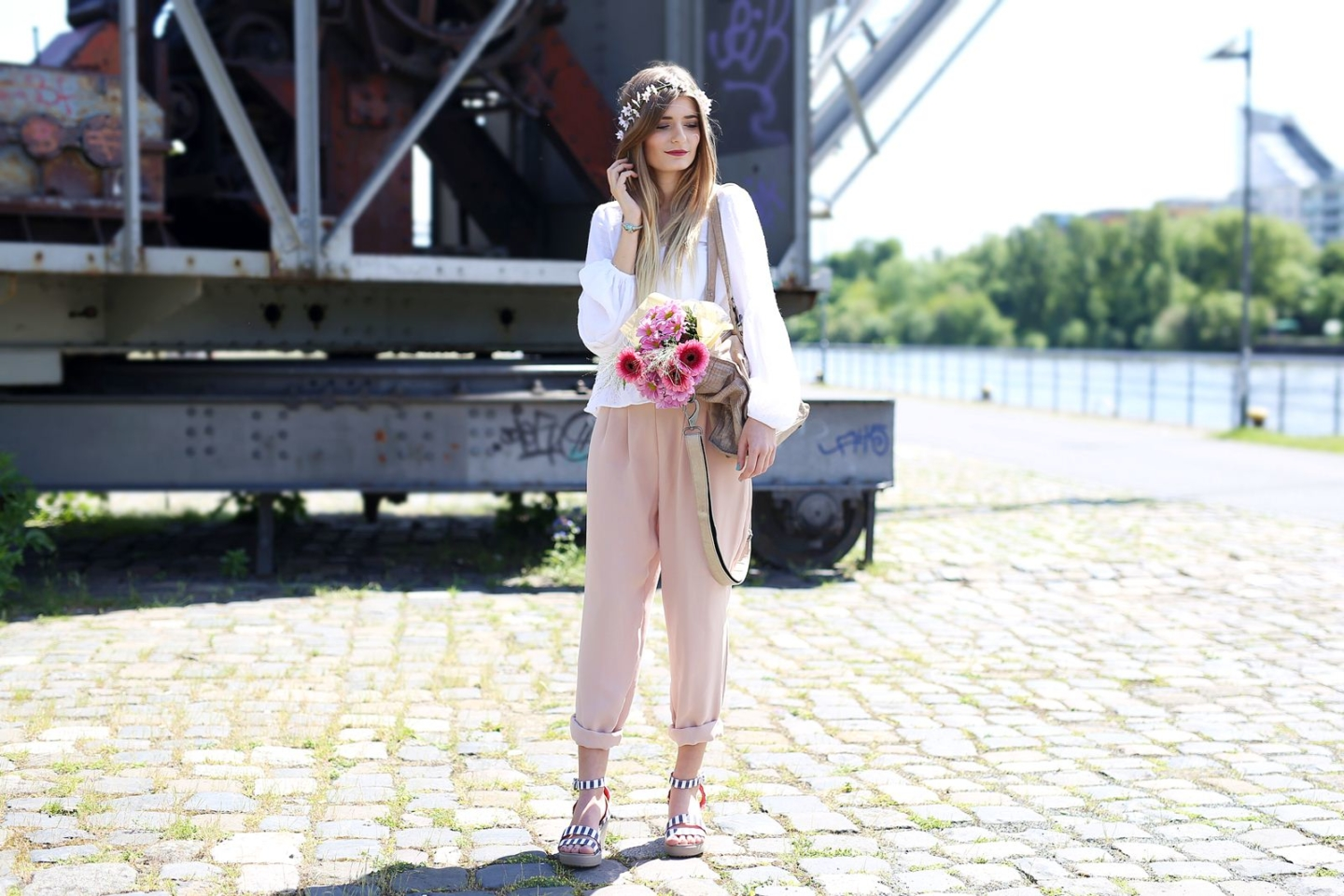 Outfit: Pink Pants & White Blouse